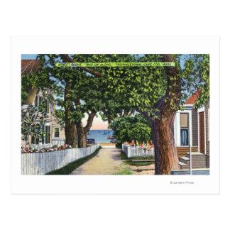 Escena de la calle de residencias tarjetas postales