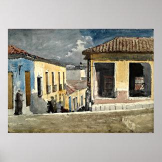 Escena de la calle de Santiago de Cuba Póster