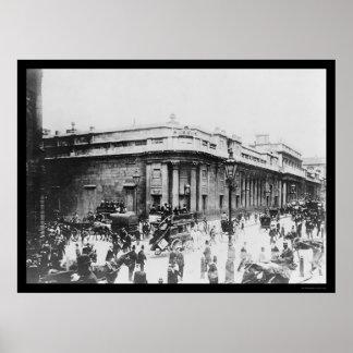 Escena de la calle en el Banco de Inglaterra en Lo Póster