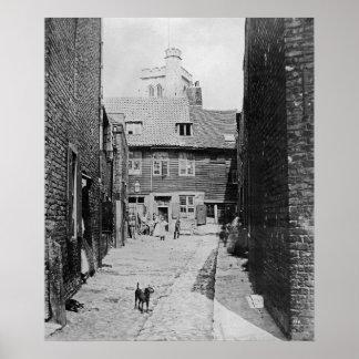 Escena de la calle en el Victorian Londres Póster