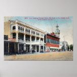 Escena de la calle que muestra el hotel de Tremont Póster