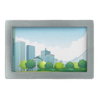Escena de la ciudad hebilla cinturon rectangular