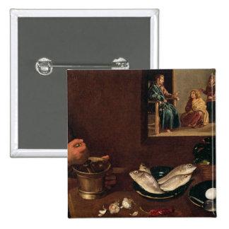 Escena de la cocina con Cristo Pin Cuadrado