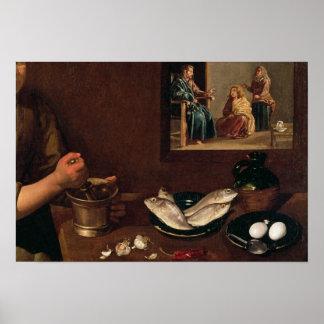 Escena de la cocina con Cristo Póster