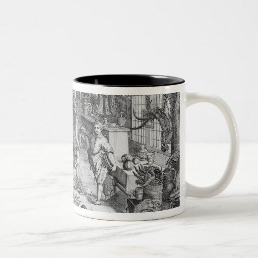 Escena de la cocina en el siglo XVII temprano Tazas De Café