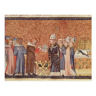 Escena de la coronación f.47 de ms Cotton Tib B Postales