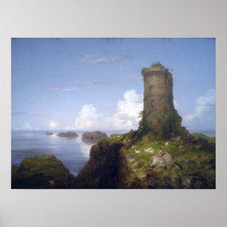Escena de la costa con la torre arruinada poster