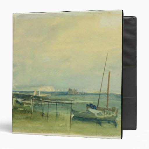 Escena de la costa con los acantilados y los barco