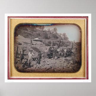 Escena de la explotación minera del cauce del río… poster