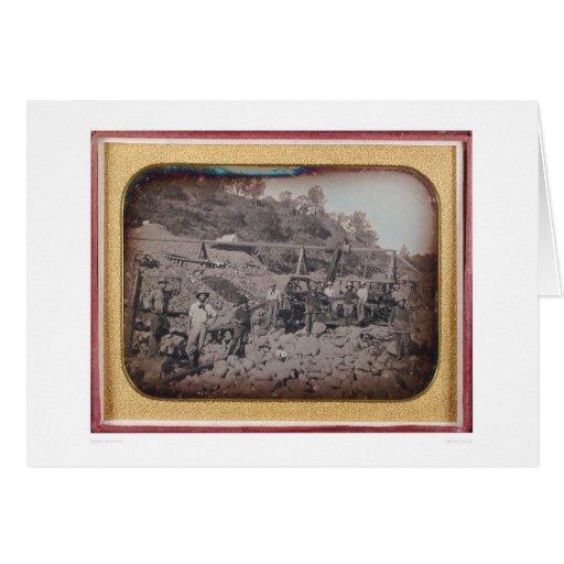 Escena de la explotación minera del cauce del río… tarjeta de felicitación