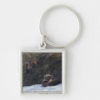 Escena de la familia del grisáceo llavero cuadrado plateado