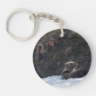 Escena de la familia del grisáceo llavero redondo acrílico a una cara