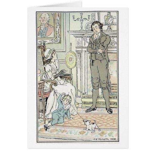 Escena de la familia, tarjeta de felicitación