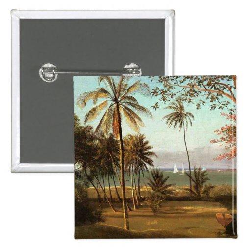 Escena de la Florida - Albert Bierstadt Pin Cuadrada 5 Cm