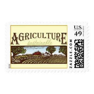 Escena de la granja de la agricultura sostenible timbres postales