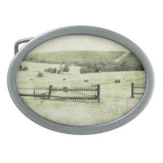 Escena de la granja hebilla cinturon oval