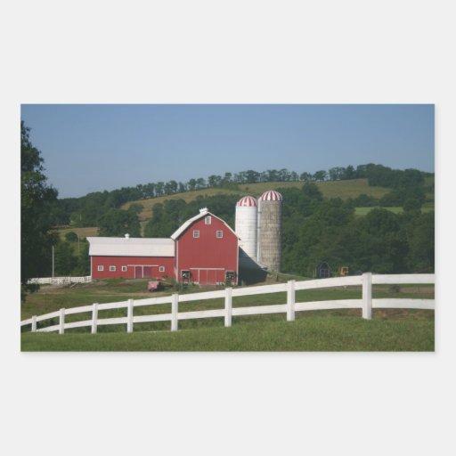 Escena de la granja pegatina rectangular