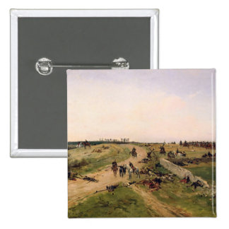 Escena de la guerra Franco-Prusiana Pin Cuadrada 5 Cm
