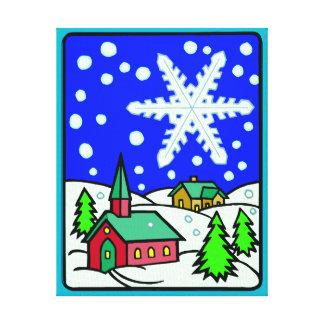 Escena de la iglesia Nevado del navidad Lienzo Envuelto Para Galerias