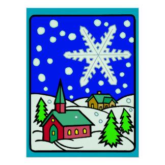 Escena de la iglesia Nevado del navidad