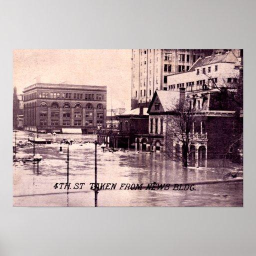 Escena de la inundación de Dayton, Ohio, 4ta calle Póster