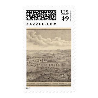 Escena de la mañana, granja común de los ríos de sellos postales