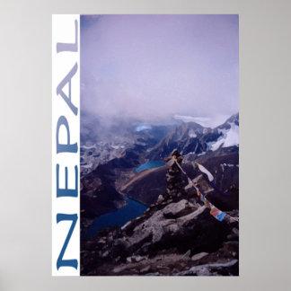 Escena de la montaña de Nepal Póster