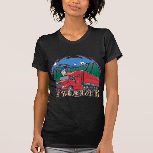 Escena de la montaña del camionero camisetas