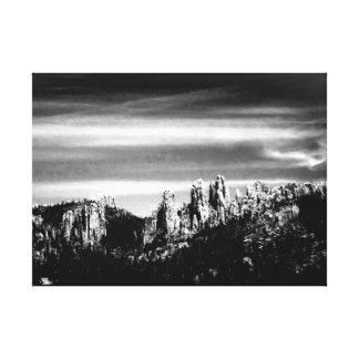 Escena de la montaña en B/W Lienzo Envuelto Para Galerias