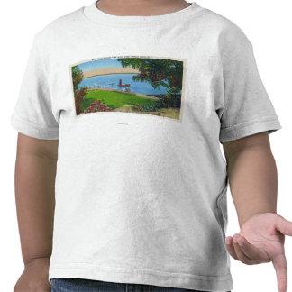 Escena de la natación en el parque de estado del camiseta