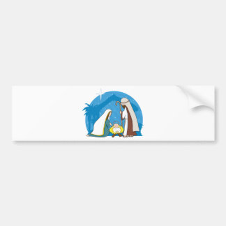 Escena de la natividad etiqueta de parachoque
