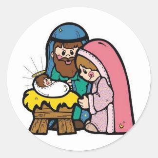Escena de la natividad con el bebé Jesús Etiqueta Redonda