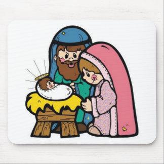 Escena de la natividad con el bebé Jesús Tapetes De Ratón