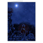 Escena de la natividad de la noche estrellada tarjetón