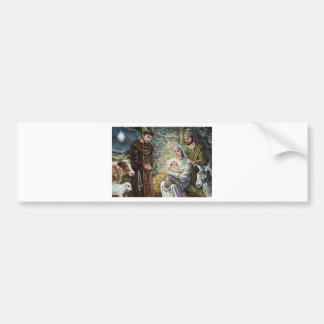 Escena de la natividad de St Francis navidad fe Etiqueta De Parachoque