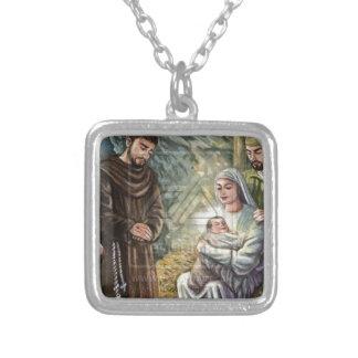Escena de la natividad de St Francis, navidad, fe, Colgantes Personalizados