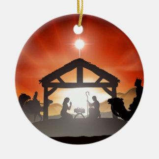 Escena de la natividad del navidad ornamentos de reyes magos