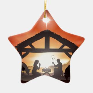Escena de la natividad del navidad ornato