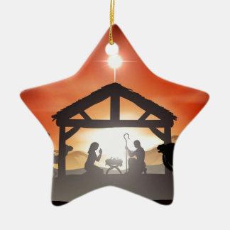 Escena de la natividad del navidad ornamento de navidad