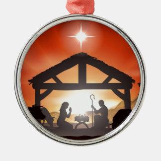 Escena de la natividad del navidad ornamento para reyes magos