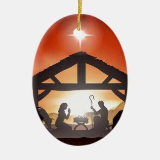 Escena de la natividad del navidad ornamento de reyes magos