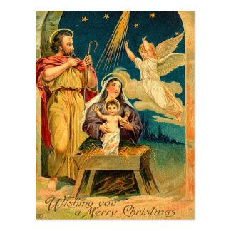 Escena de la natividad del navidad del vintage postal