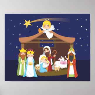 Escena de la natividad del navidad impresiones