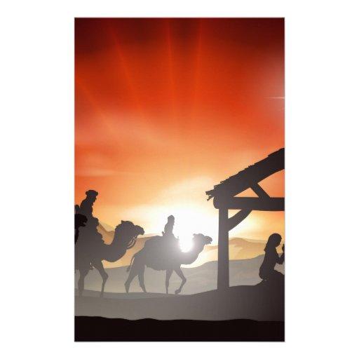 Escena de la natividad del navidad papeleria personalizada
