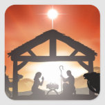 Escena de la natividad del navidad calcomanía cuadradas personalizadas