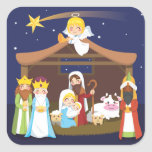 Escena de la natividad del navidad calcomanía cuadrada