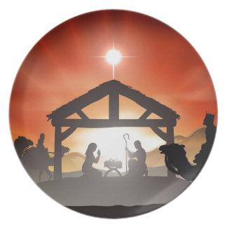 Escena de la natividad del navidad plato