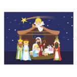 Escena de la natividad del navidad tarjeta postal