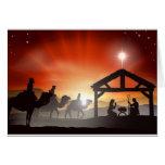 Escena de la natividad del navidad tarjetón