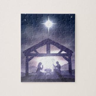 Escena de la natividad del pesebre del navidad rompecabezas con fotos